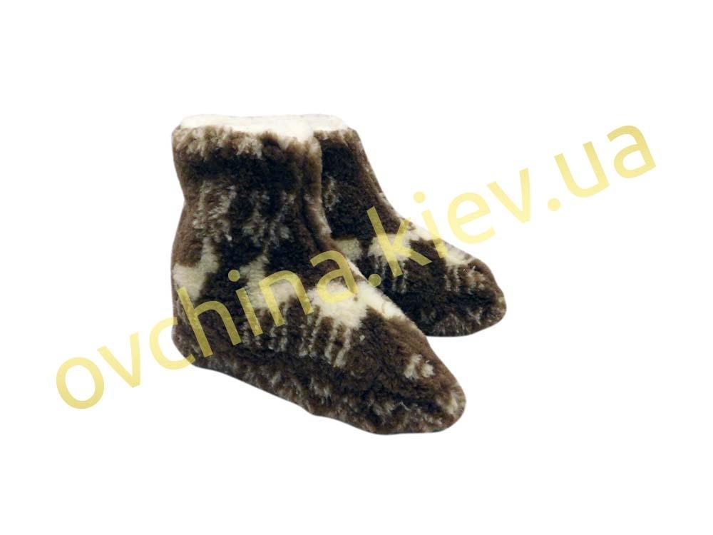 Чуни женские из шерсти мериносовой овчины с узором «Олени» /вариант 1/ - 4