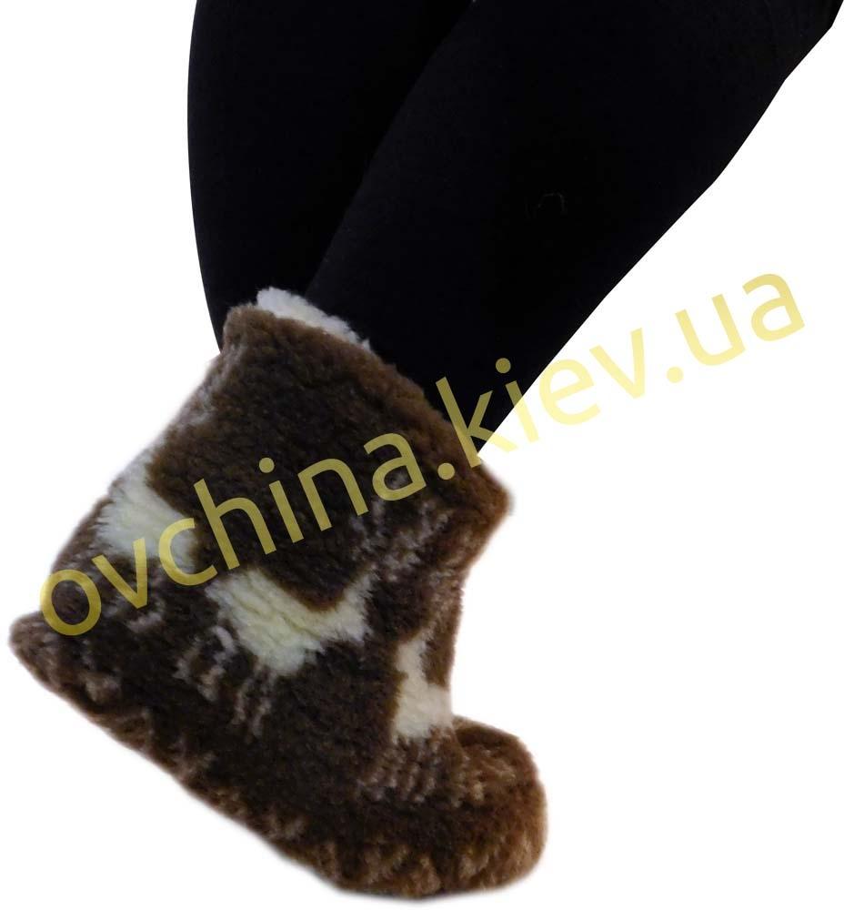 Чуни женские из шерсти мериносовой овчины с узором «Олени» /вариант 1/ - 2