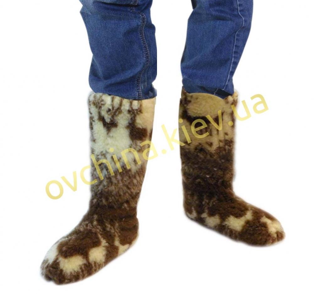 Чуни мужские из шерсти мериносовой овчины высокие до колен с узором - «Олени скандинавские» - 1
