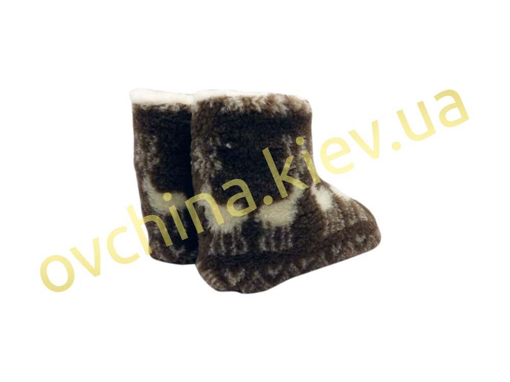 Чуни мужские из шерсти мериносовой овчины с узором «Олени» /вариант 1/ - 5