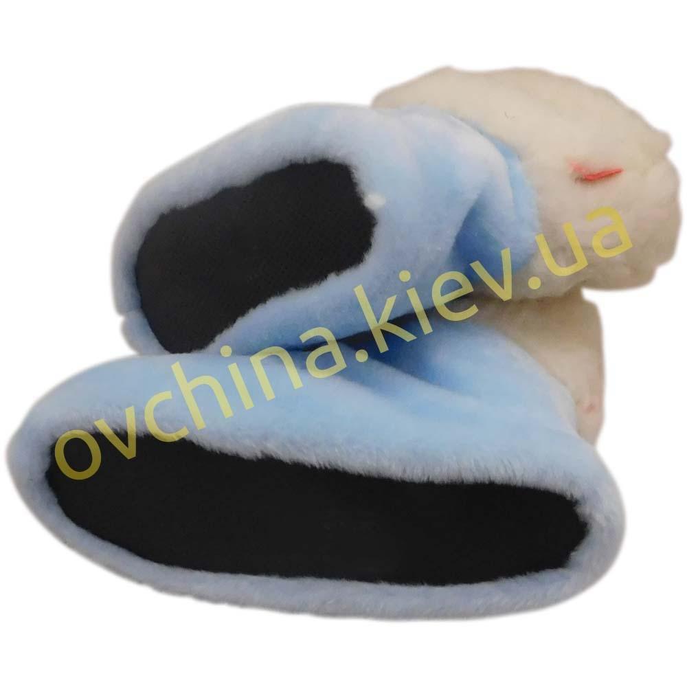 Чуни женские голубые из шерсти мериносовой овчины - 1