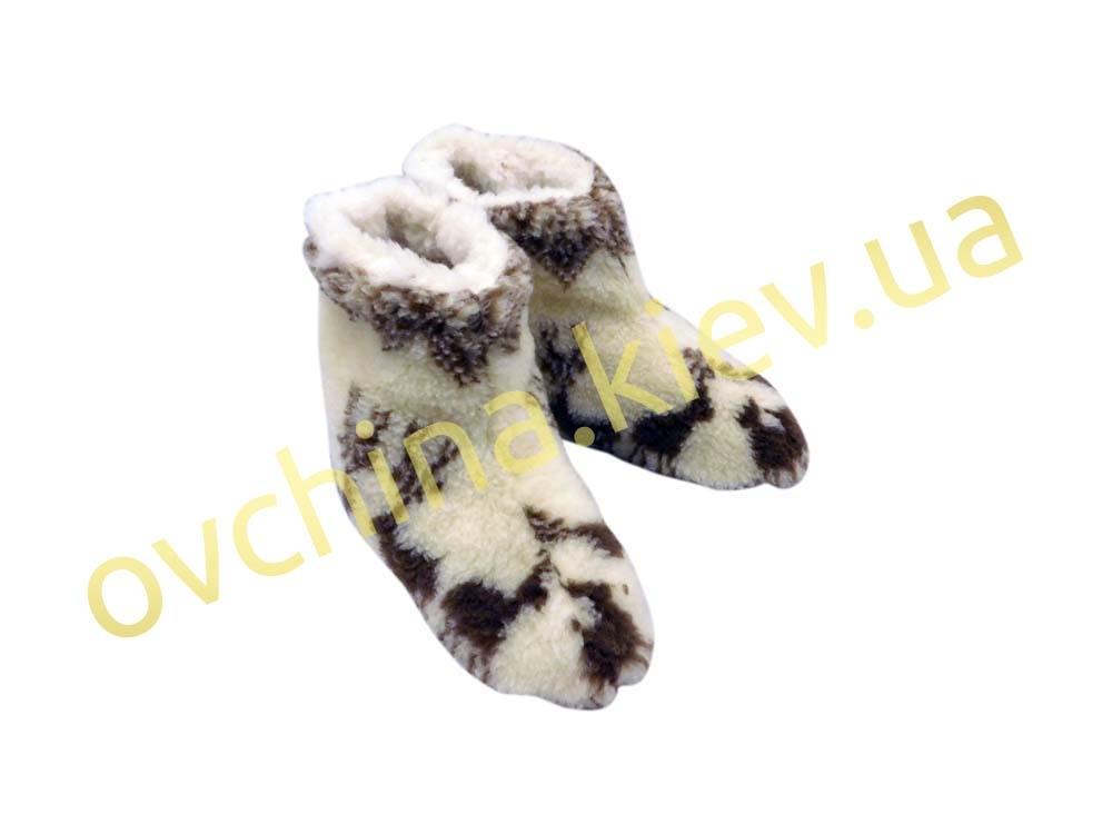 Чуни женские из шерсти мериносовой овчины с узором «Олени» /вариант 2/  - 1