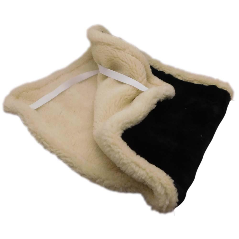 Накидка на сиденье автомобиля из натурального меха овчины (мутона) черная с белой каймой - 2