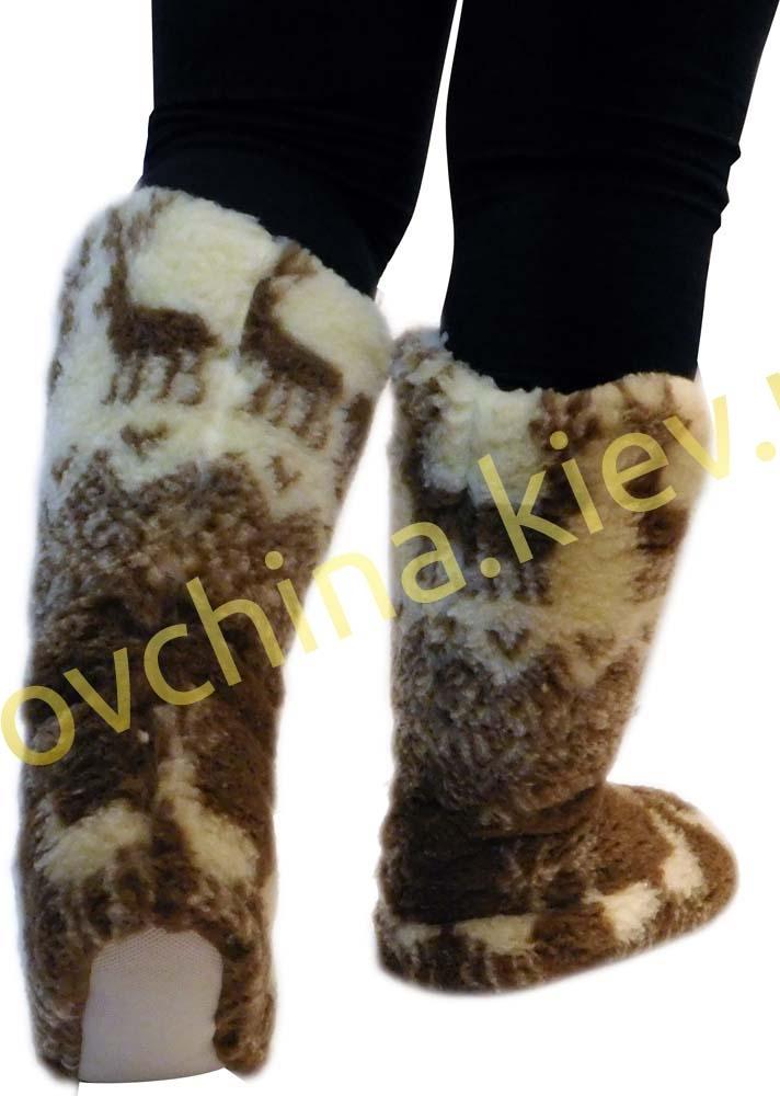 Чуни женские из шерсти мериносовой овчины высокие до колен с узором «Олени скандинавские» - 1