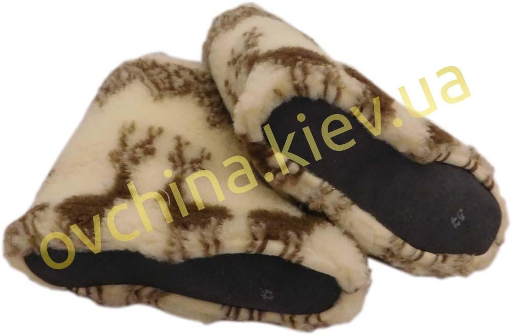 Чуни женские из шерсти мериносовой овчины с узором «Олени» /вариант 2/  - 4