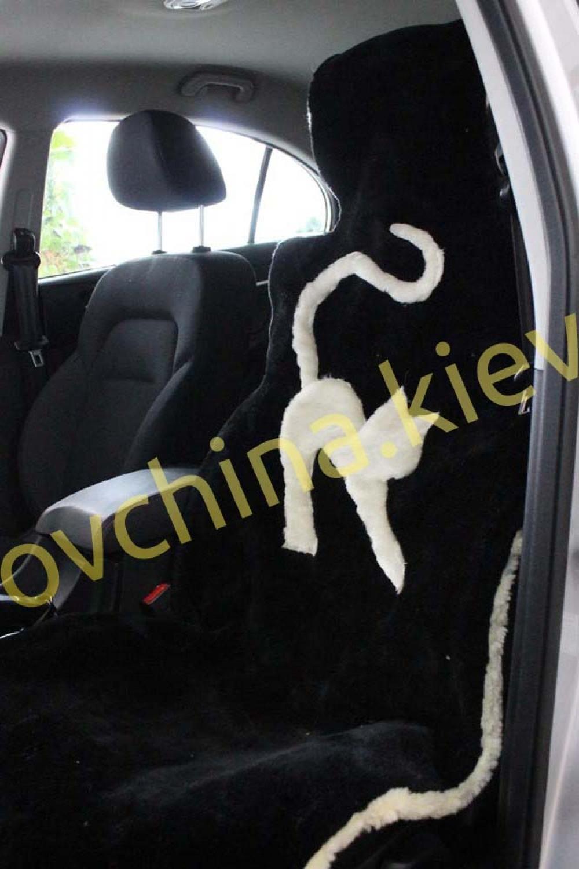 Накидка на сиденье автомобиля из натурального меха овчины (мутона) Черная с котом
