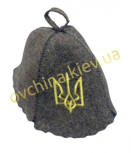 Шапка для бани из войлока с надписью «Герб/(серая)